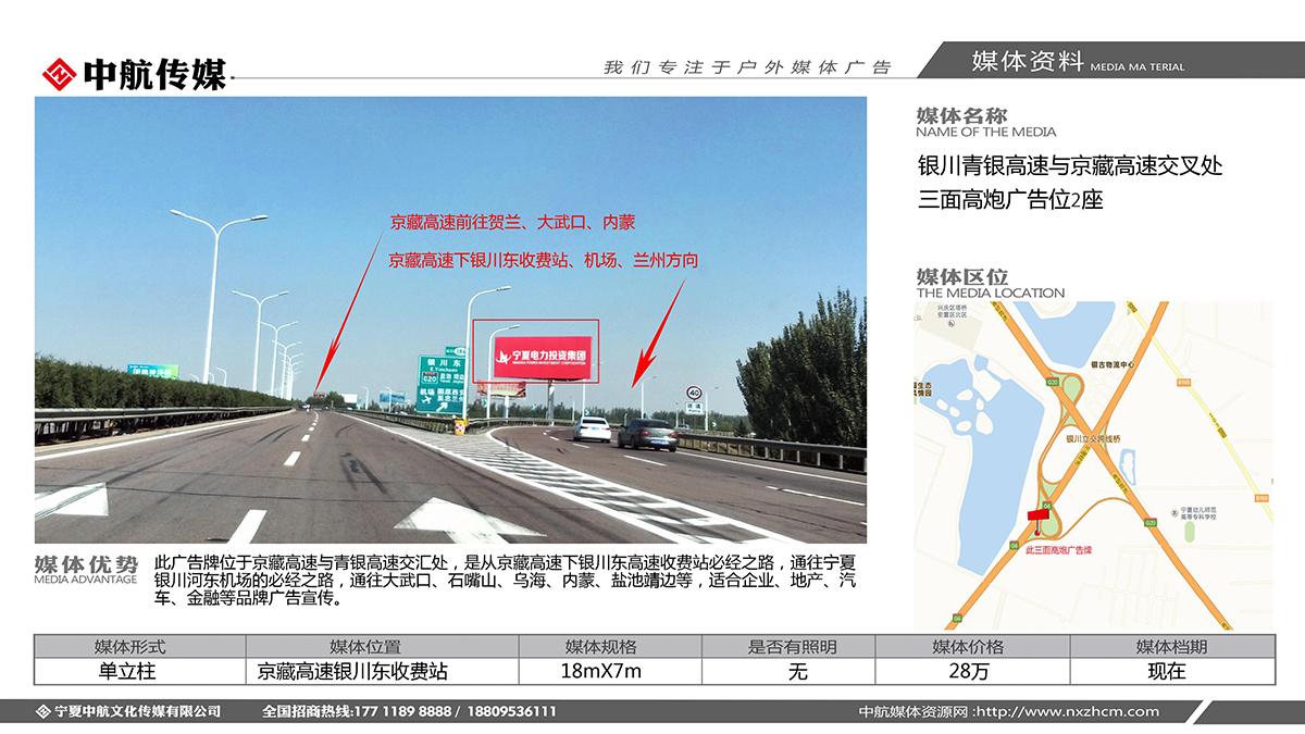 银川青银高速与京藏高速交叉处三面高炮广告位2座