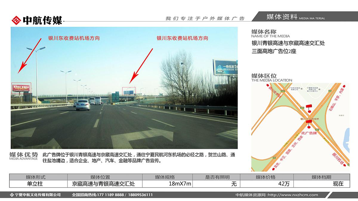 银川青银高速与京藏高速交汇处三面高炮广告位2座