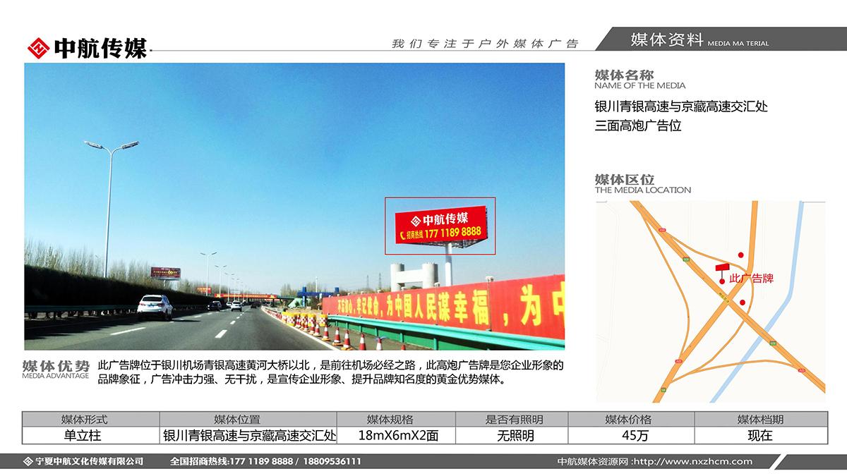 银川青银高速与京藏高速交汇处三面高炮广告位