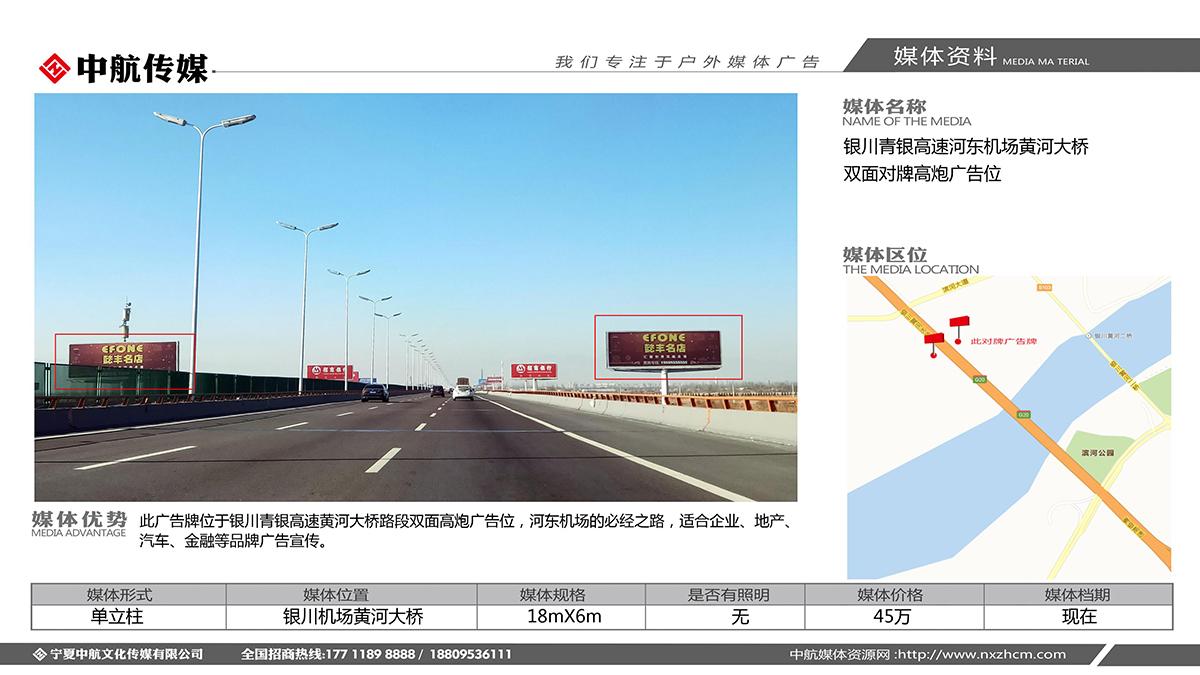 银川青银高速河东机场黄河大桥双面对牌高炮广告位