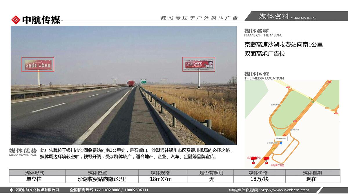 京藏高速沙湖收费站向南1公里双面高炮广告位