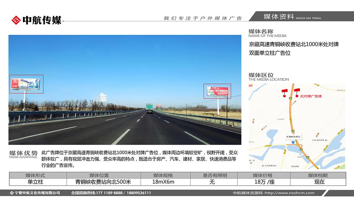 京藏高速青铜峡收费站北1000米处对牌双面单立柱广告位