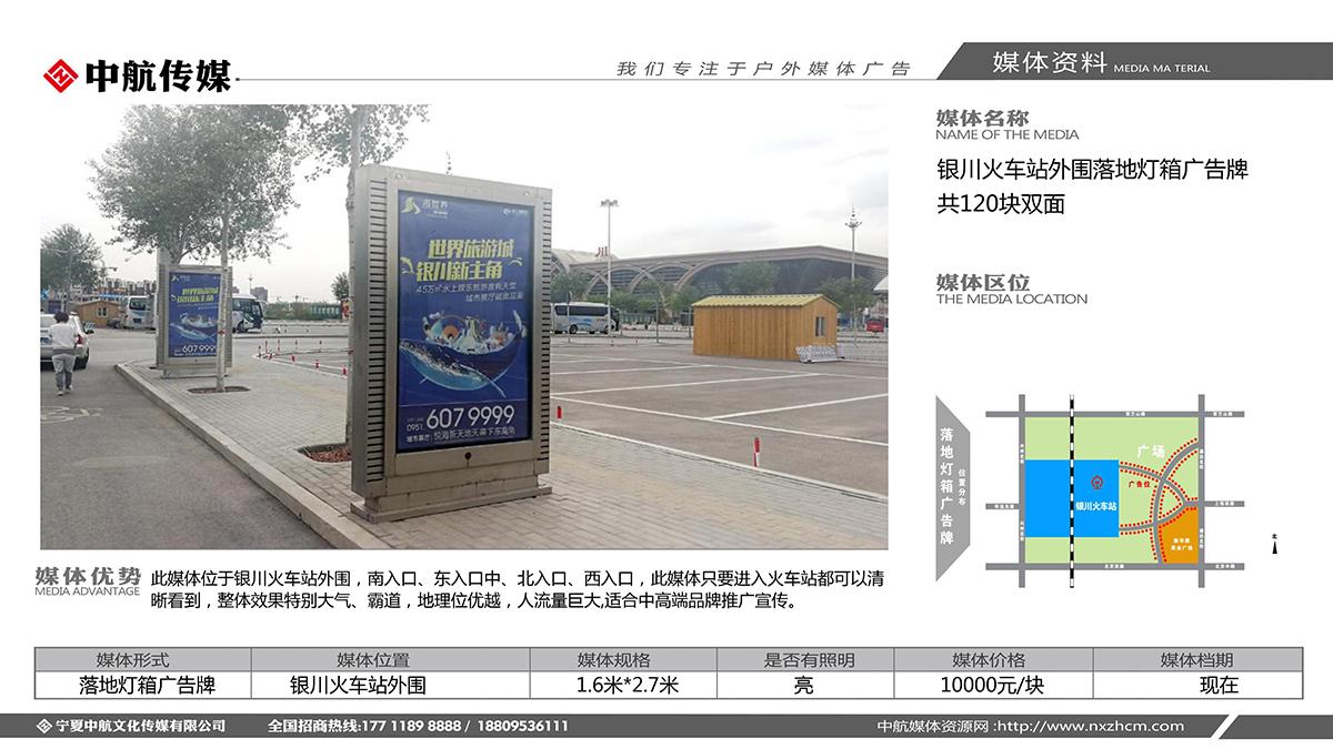 银川火车站外围落地灯箱广告牌  共120块双面